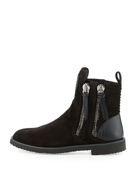 x Zayn Men's Suede Double-Zip Ankle Boot, Nero/Black