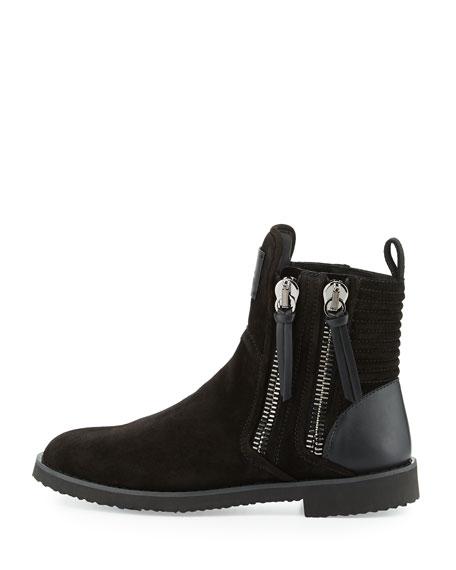 x Zayn Men's Suede Double-Zip Ankle Boot, Nero/Black
