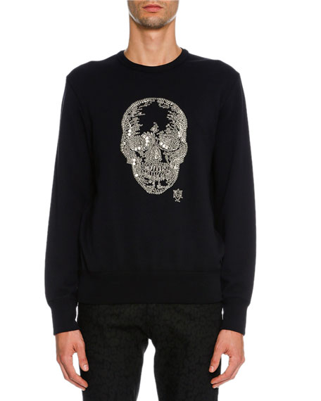Alexander McQueen Beaded-Skull Sweatshirt, Black