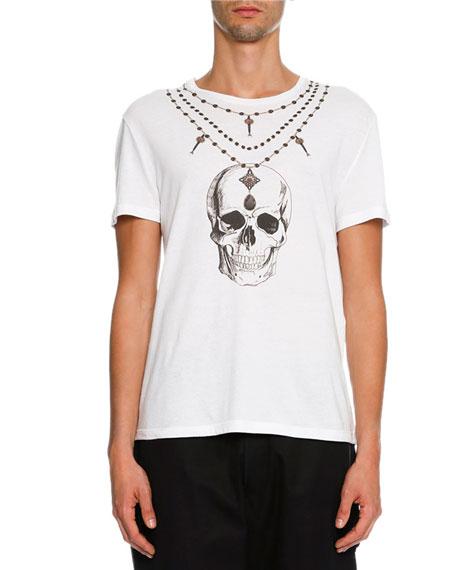 Alexander McQueen Skull Rosary Organic Cotton T-Shirt, White