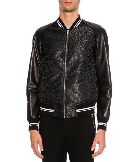 Alexander McQueen Leopard-Print Jacquard Varsity Jacket with