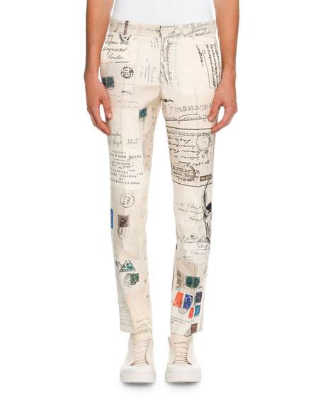 Alexander McQueen Postcard-Print Silk Slim-Straight Trousers, Ivory