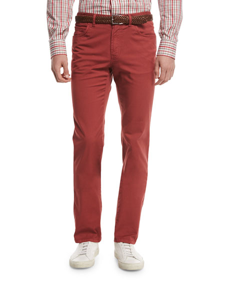 Brioni Five-Pocket Twill Pants, Red