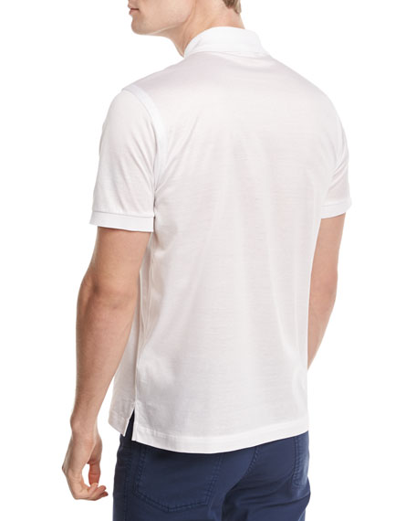 Zip-Front Polo Shirt, White