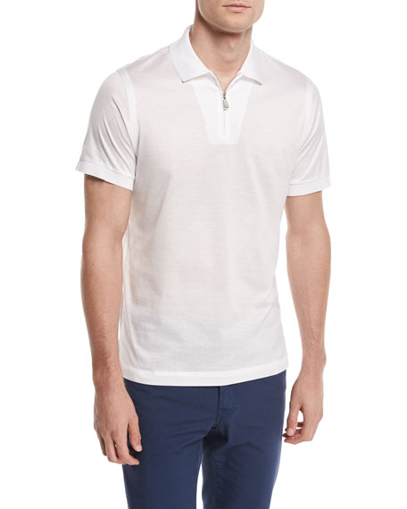 Brioni Zip-Front Polo Shirt, White