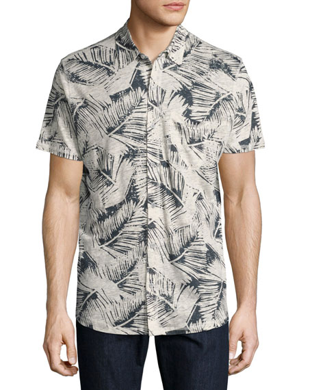 Majestic Leaf-Print Knit Short-Sleeve Sport Shirt, Blue/Natural