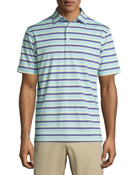 Peter Millar Boston Striped Performance Jersey Polo Shirt,