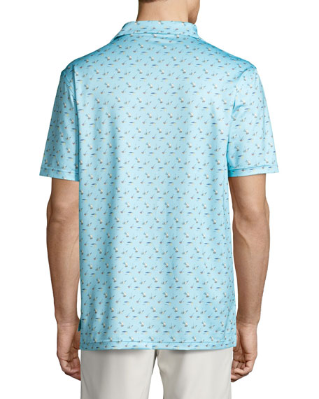 Labrador Tackle-Print Performance Jersey Polo Shirt, Light Blue