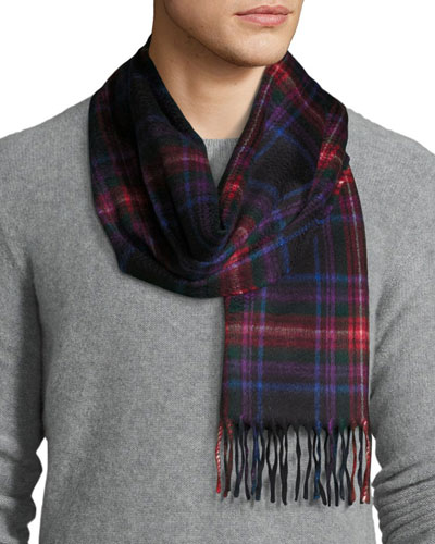 Arran Tartan Cashmere Muffler Scarf, Red/Blue/Black