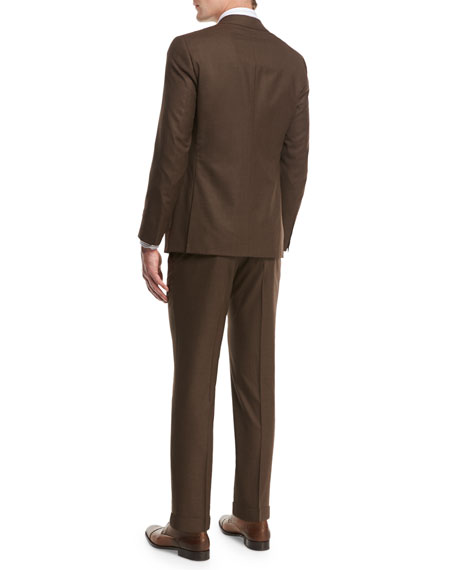Sanita Solid Wool Two-Piece Suit, Brown