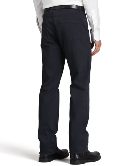 Five-Pocket Brushed Twill Pants, Navy