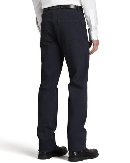 Five-Pocket Brushed Twill Pants, Navy