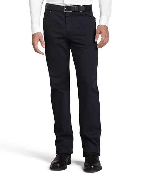 Ermenegildo Zegna Five-Pocket Brushed Twill Pants, Navy