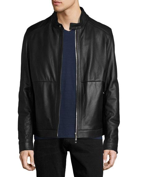 BOSS Classic Leather Biker Jacket, Black