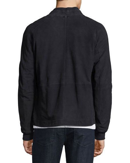 BOSS Embossed Suede Bomber Jacket, Navy
