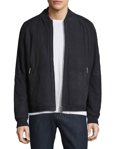 Embossed Suede Bomber Jacket, Navy