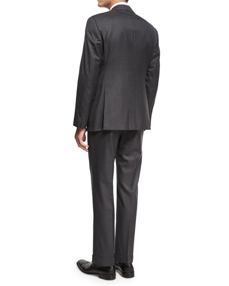 Soft Basic Wool Two-Piece Suit, Gray
