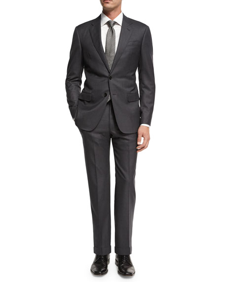 Giorgio Armani Soft Basic Wool Two-Piece Suit, Gray