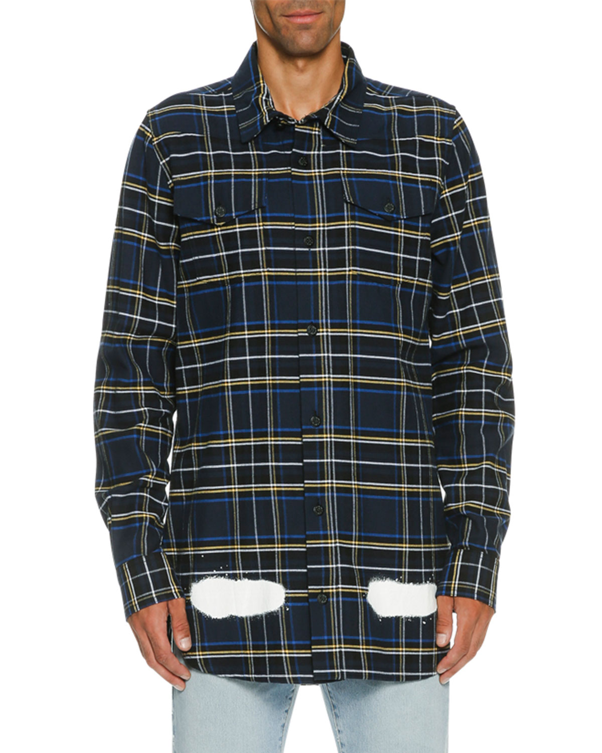 74840390e47b Off-White Spray-Paint Plaid Flannel Shirt