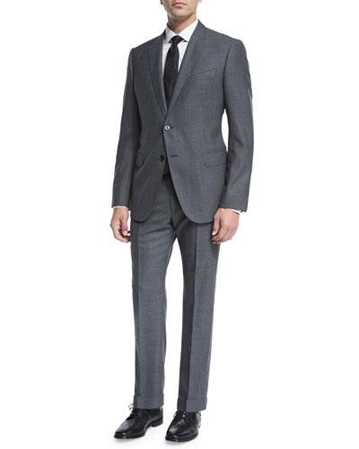 Pinstripe Sharkskin Two-Piece Suit, Gray/Blue
