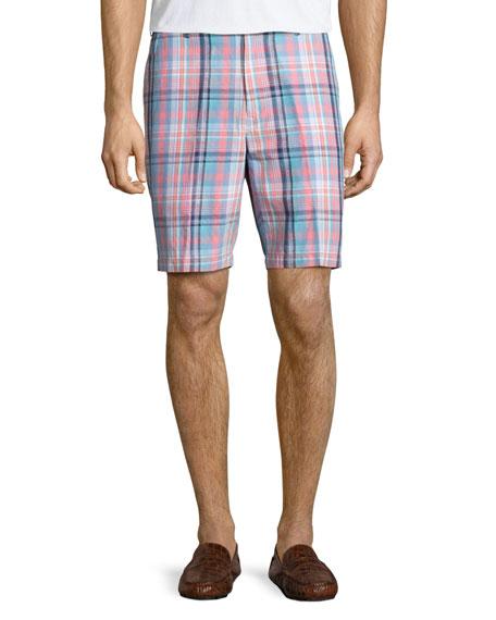 Peter Millar Manteo Madras Plaid Shorts, Pink/Blue