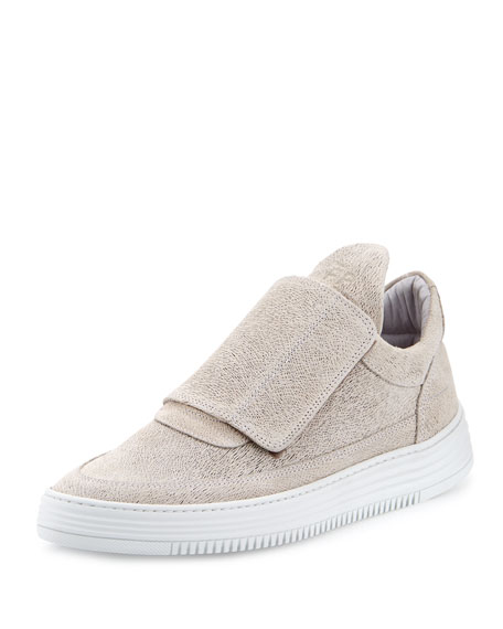 Low-Top Pattern Grip Sneakers, Gray