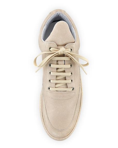 Low-Top Monotone Stripe Sneakers, Beige