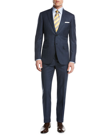 Brioni Plaid Wool-Silk Two-Piece Suit, Medium Blue