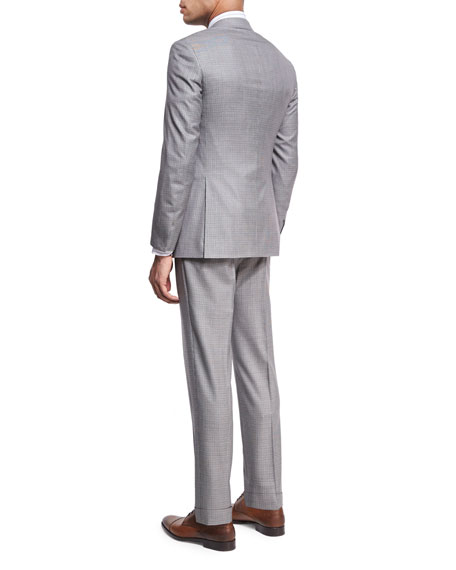 Houndstooth Super 160s Wool Two-Piece Suit, Black/White