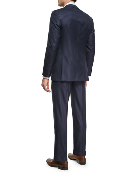 Pin-Dot Striped Super 160s Wool Two-Piece Suit, Navy