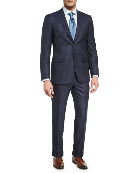 Brioni Pin-Dot Striped Super 160s Wool Two-Piece Suit,