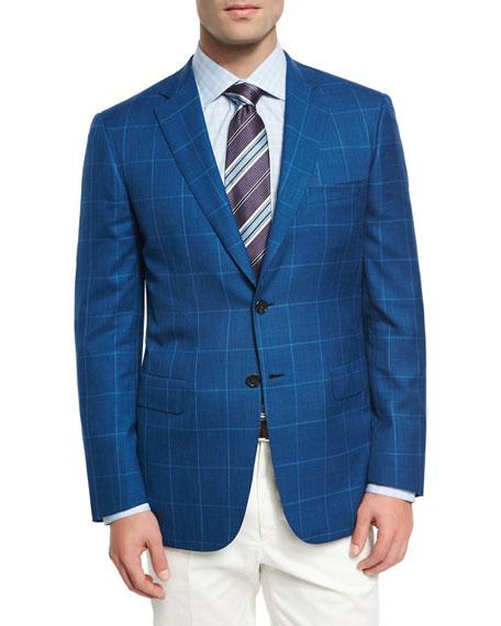 Windowpane Wool-Linen-Silk Sport Coat, High Blue