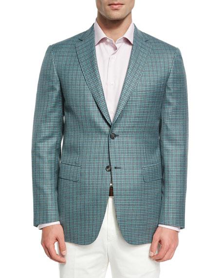 Check Wool-Silk Sport Coat, Light Green