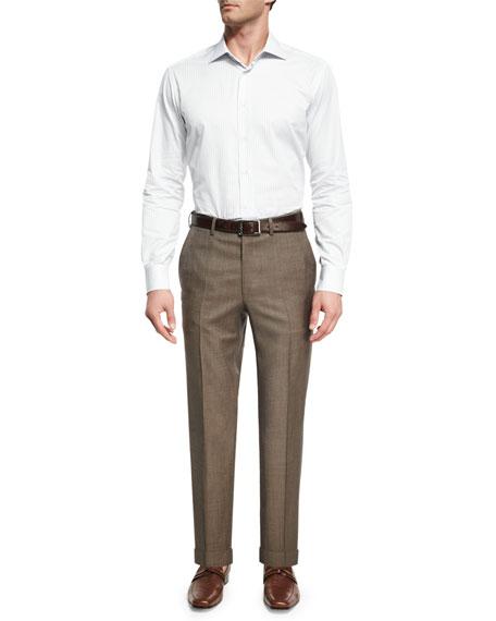 Sharkskin Wool Flat-Front Trousers, Brown