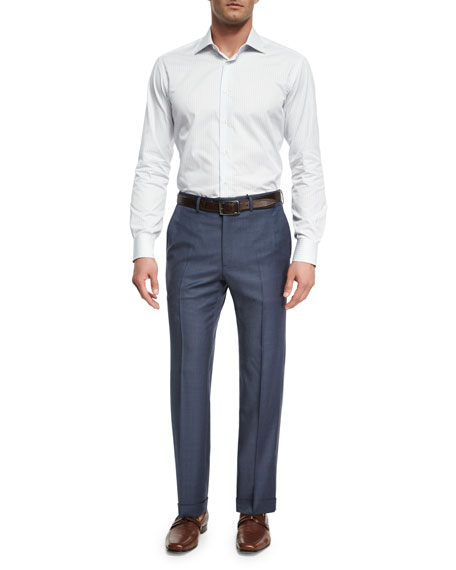 Sharkskin Wool Flat-Front Trousers, Blue