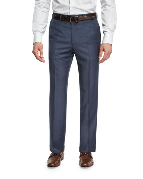 Brioni Sharkskin Wool Flat-Front Trousers, Blue
