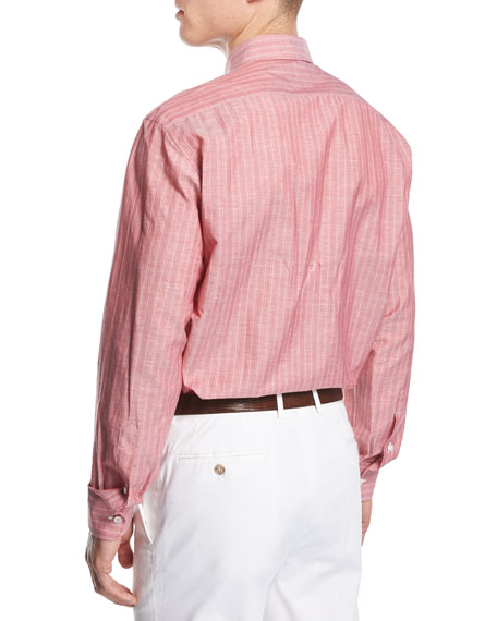 Cotton-Linen Striped Shirt, Red