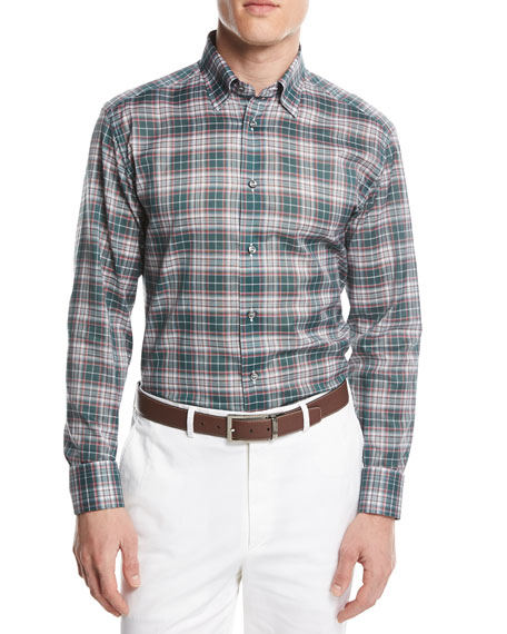 Brioni Plaid Button-Front Shirt, Green/Pink