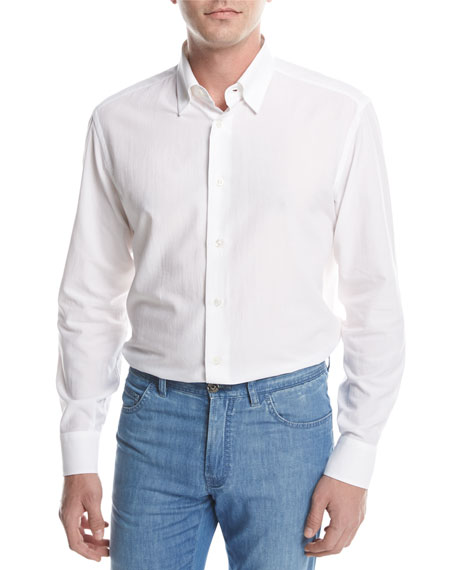 Brioni Textured Solid Sport Shirt, White