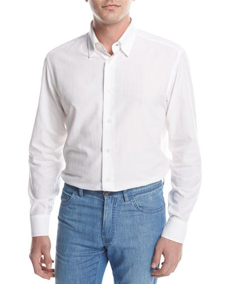 Brioni Textured Solid Sport Shirt, White