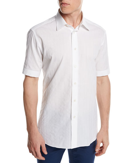 Brioni Short-Sleeve Plaid Jacquard Shirt, White
