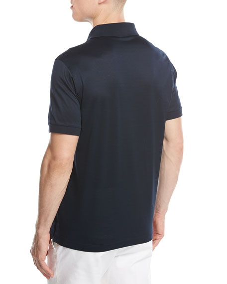 Cotton Zip Polo Shirt, Midnight Blue