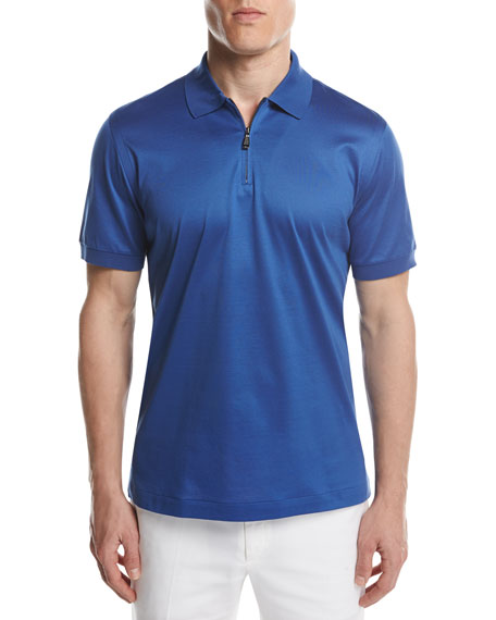 Cotton Zip Polo Shirt, Royal Blue