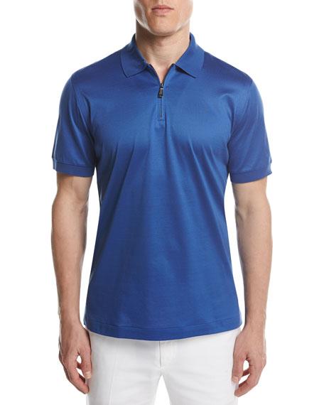 Cotton Zip Polo Shirt, Royal Blue