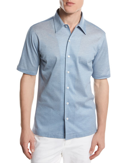 Brioni Piqué Knit Button-Front Shirt, Light Blue