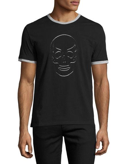 Alexander McQueen Skull-Cutout Ringer T-Shirt, Black/Gray