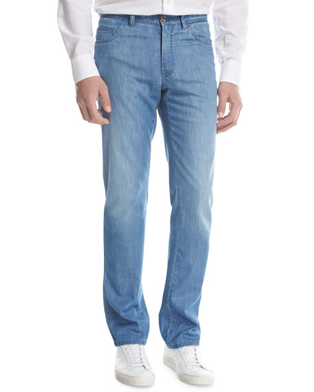 Straight-Leg Denim Jeans, Light Wash
