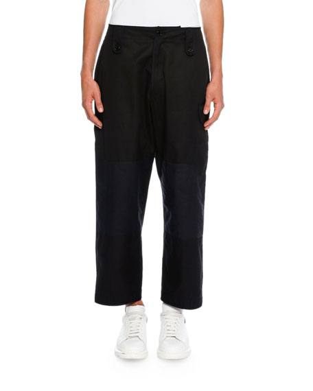 Alexander McQueen Colorblock Cropped Wide-Leg Cargo Pants,