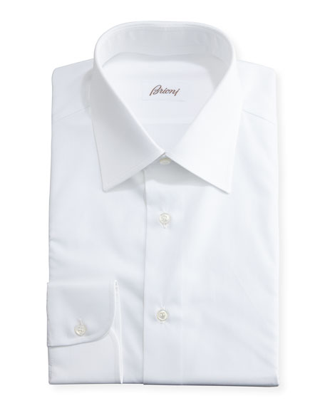 Brioni Wardrobe Essential Solid Dress Shirt, White