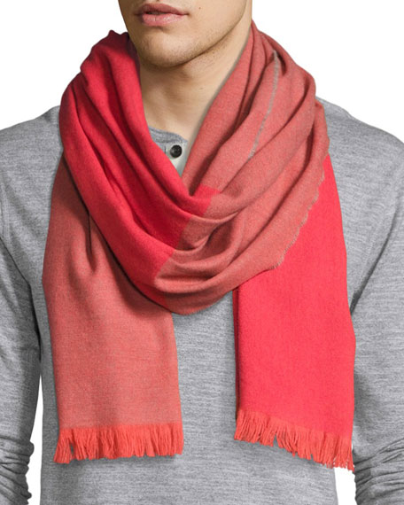 Hoy Colorblock Lambswool-Angora Scarf, Red